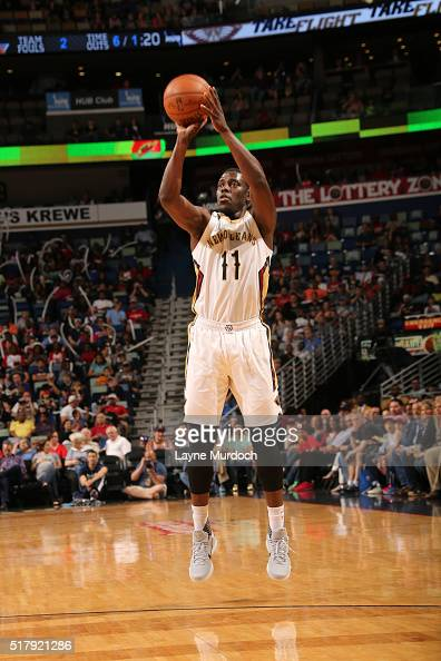 Jrue Holiday of the New Orleans Pelicans shoots against the New York Knicks during the game on March 28 2016 at Smoothie King Center in New Orleans...
