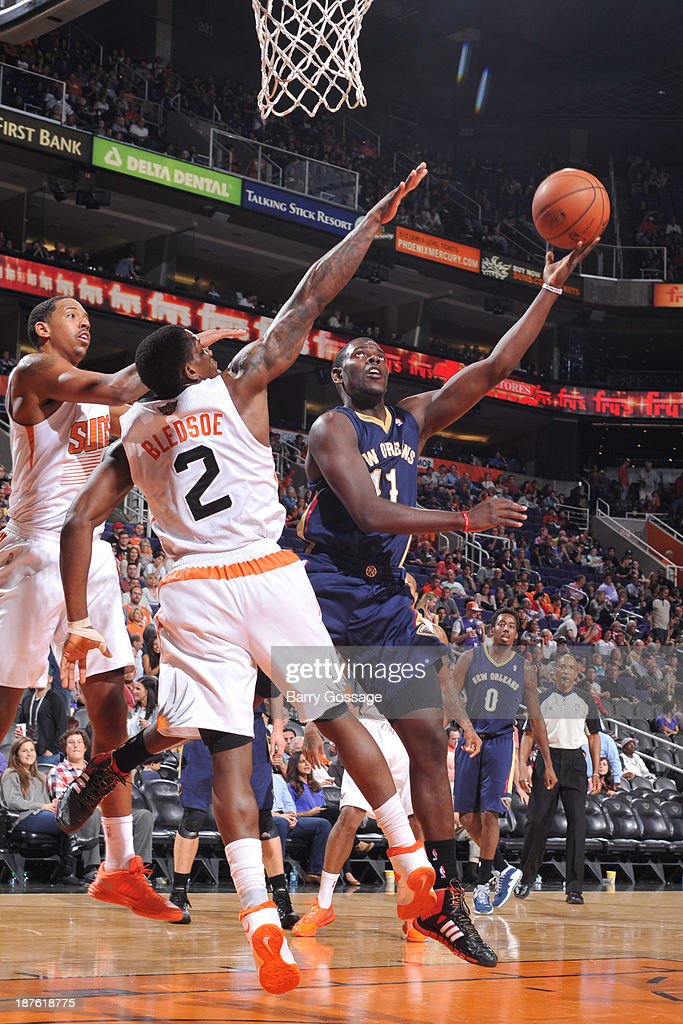 <a gi-track='captionPersonalityLinkClicked' href=/galleries/search?phrase=Jrue+Holiday&family=editorial&specificpeople=5042484 ng-click='$event.stopPropagation()'>Jrue Holiday</a> #11 of the New Orleans Pelicans shoots against the Phoenix Suns on November 10, 2013 at U.S. Airways Center in Phoenix, Arizona.