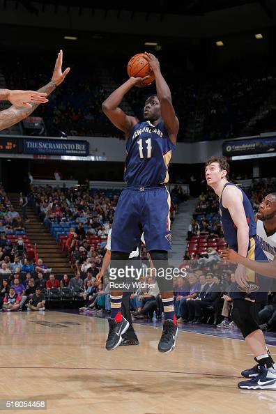 Jrue Holiday of the New Orleans Pelicans shoots the ball against the Sacramento Kings on March 16 2016 at Sleep Train Arena in Sacramento California...