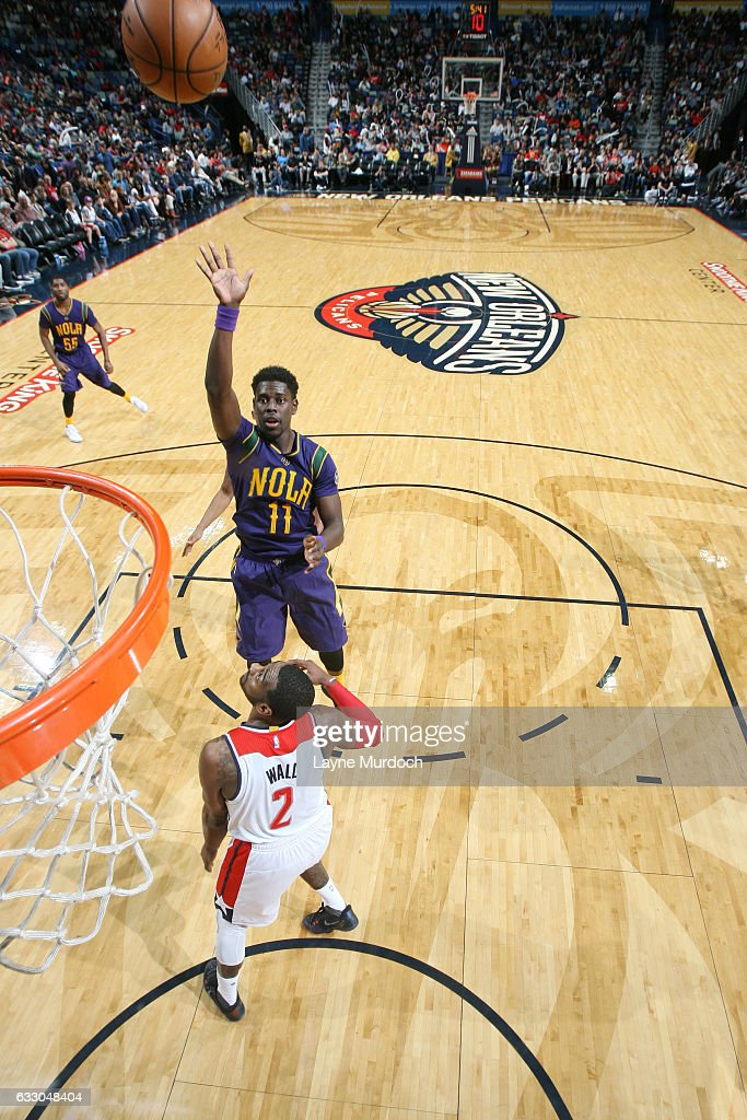 Jrue Holiday #11 of the New Orleans Pelicans shoots the ball against the Washington Wizards during the game on January 29, 2017 at Smoothie King Center in New Orleans, Louisiana.