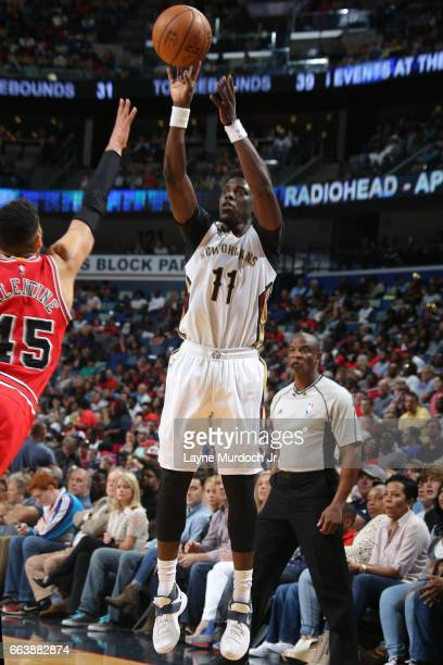 Jrue Holiday of the New Orleans Pelicans shoots the ball against the Chicago Bulls on April 2 2017 at Smoothie King Center in New Orleans Louisiana...