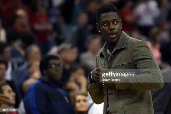 Jrue Holiday of the New Orleans Pelicans walks to the bench during a game against the Dallas Mavericks at the Smoothie King Center on January 25 2015...