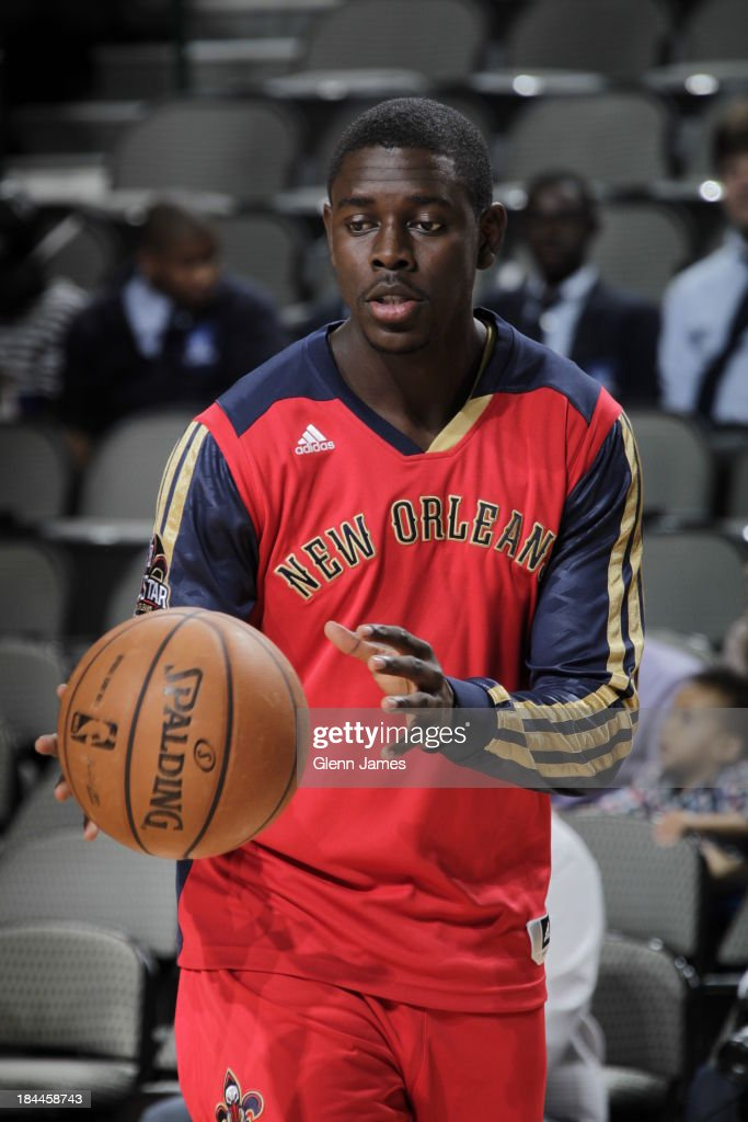 <a gi-track='captionPersonalityLinkClicked' href=/galleries/search?phrase=Jrue+Holiday&family=editorial&specificpeople=5042484 ng-click='$event.stopPropagation()'>Jrue Holiday</a> #11 of the New Orleans Pelicans warms up before the game against the Dallas Mavericks on October 7, 2013 at the American Airlines Center in Dallas, Texas.
