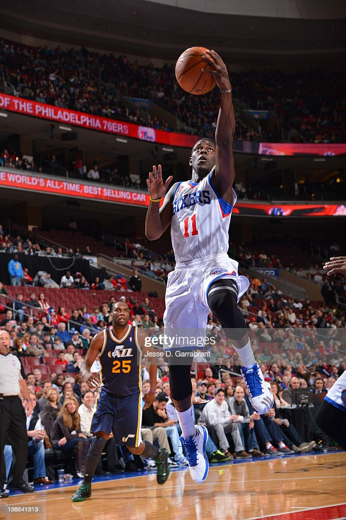 Jrue Holiday #11 of the Philadelphia 76ers drives to the basket against the Utah Jazz at the Wells Fargo Center on November 16, 2012 in Philadelphia, Pennsylvania.
