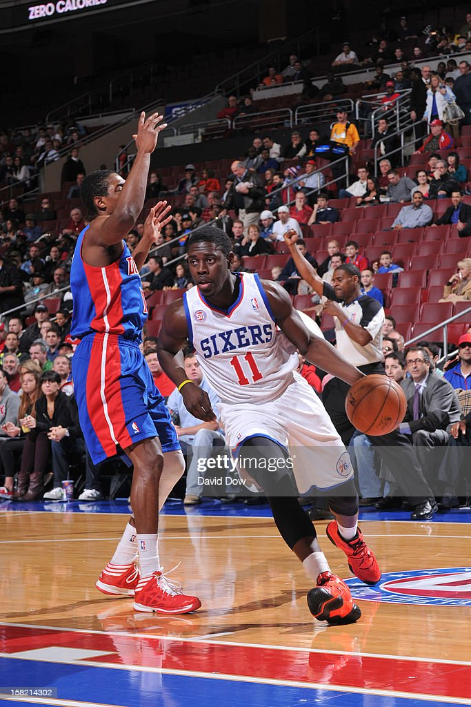 <a gi-track='captionPersonalityLinkClicked' href=/galleries/search?phrase=Jrue+Holiday&family=editorial&specificpeople=5042484 ng-click='$event.stopPropagation()'>Jrue Holiday</a> #11 of the Philadelphia 76ers drives to the basket against the Detroit Pistons during the game at the Wells Fargo Center on December 10, 2012 in Philadelphia, Pennsylvania.