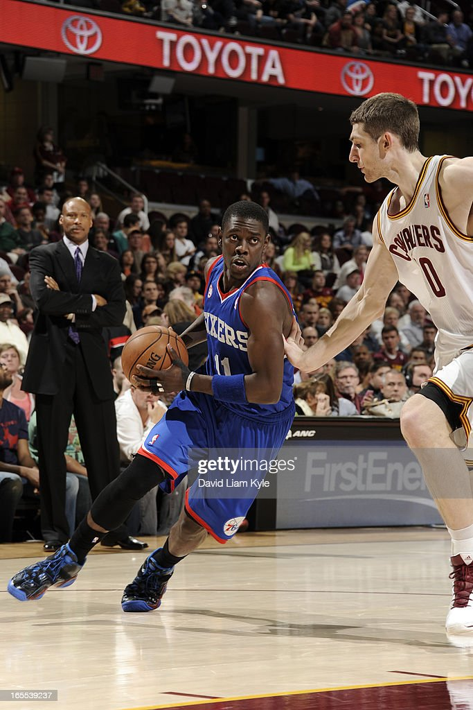 <a gi-track='captionPersonalityLinkClicked' href=/galleries/search?phrase=Jrue+Holiday&family=editorial&specificpeople=5042484 ng-click='$event.stopPropagation()'>Jrue Holiday</a> #11 of the Philadelphia 76ers drives to the basket against the Cleveland Cavaliers at The Quicken Loans Arena on March 29, 2013 in Cleveland, Ohio.