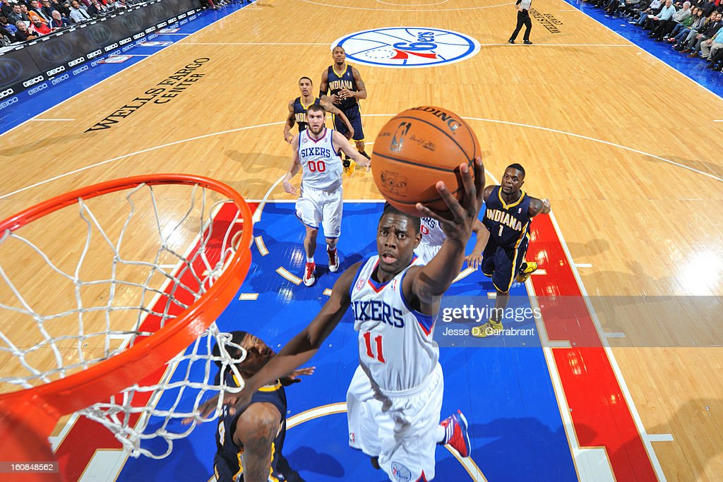 <a gi-track='captionPersonalityLinkClicked' href=/galleries/search?phrase=Jrue+Holiday&family=editorial&specificpeople=5042484 ng-click='$event.stopPropagation()'>Jrue Holiday</a> #11 of the Philadelphia 76ers goes to the basket against the Indiana Pacers during the game at the Wells Fargo Center on February 6, 2013 in Philadelphia, Pennsylvania.