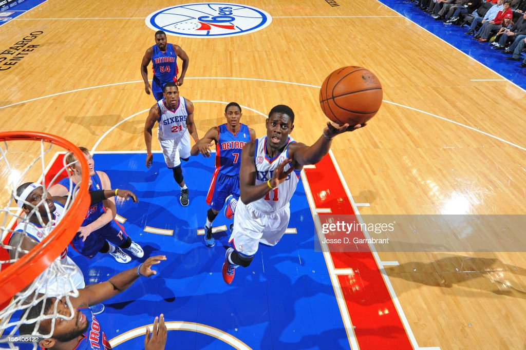 <a gi-track='captionPersonalityLinkClicked' href=/galleries/search?phrase=Jrue+Holiday&family=editorial&specificpeople=5042484 ng-click='$event.stopPropagation()'>Jrue Holiday</a> #11 of the Philadelphia 76ers goes to the basket during the game between Detroit Pistons and the Philadelphia 76ers at the Wells Fargo Center on November 14, 2012 in Philadelphia, Pennsylvania.