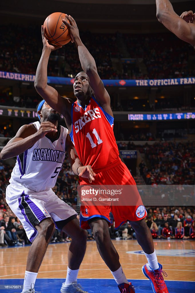 Jrue Holiday #11 of the Philadelphia 76ers goes up strong to the basket against the Sacramento Kings during the game at the Wells Fargo Center on February 1, 2013 in Philadelphia, Pennsylvania.