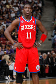Jrue Holiday of the Philadelphia 76ers in a game against the Sacramento Kings on March 24 2013 at Sleep Train Arena in Sacramento California NOTE TO...