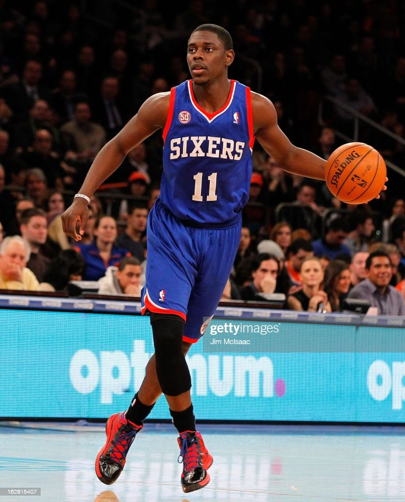 Jrue Holiday #11 of the Philadelphia 76ers in action against the New York Knicks at Madison Square Garden on February 24, 2013 in New York City. The Knicks defeated the 76ers 99-93.