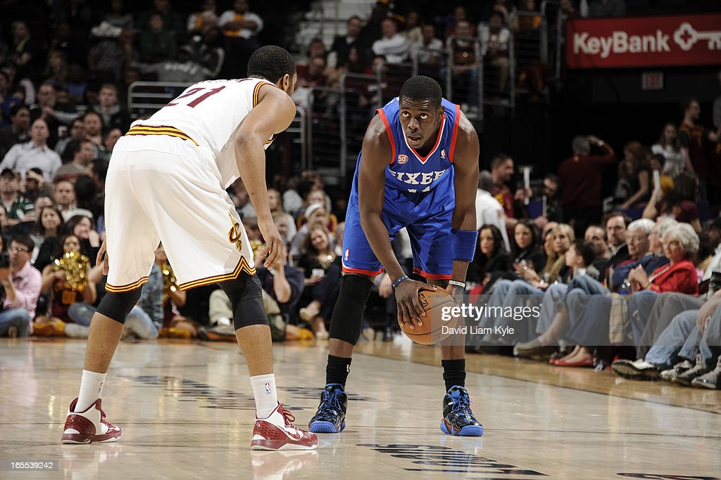 <a gi-track='captionPersonalityLinkClicked' href=/galleries/search?phrase=Jrue+Holiday&family=editorial&specificpeople=5042484 ng-click='$event.stopPropagation()'>Jrue Holiday</a> #11 of the Philadelphia 76ers looks to drive to the basket against the Cleveland Cavaliers at The Quicken Loans Arena on March 29, 2013 in Cleveland, Ohio.