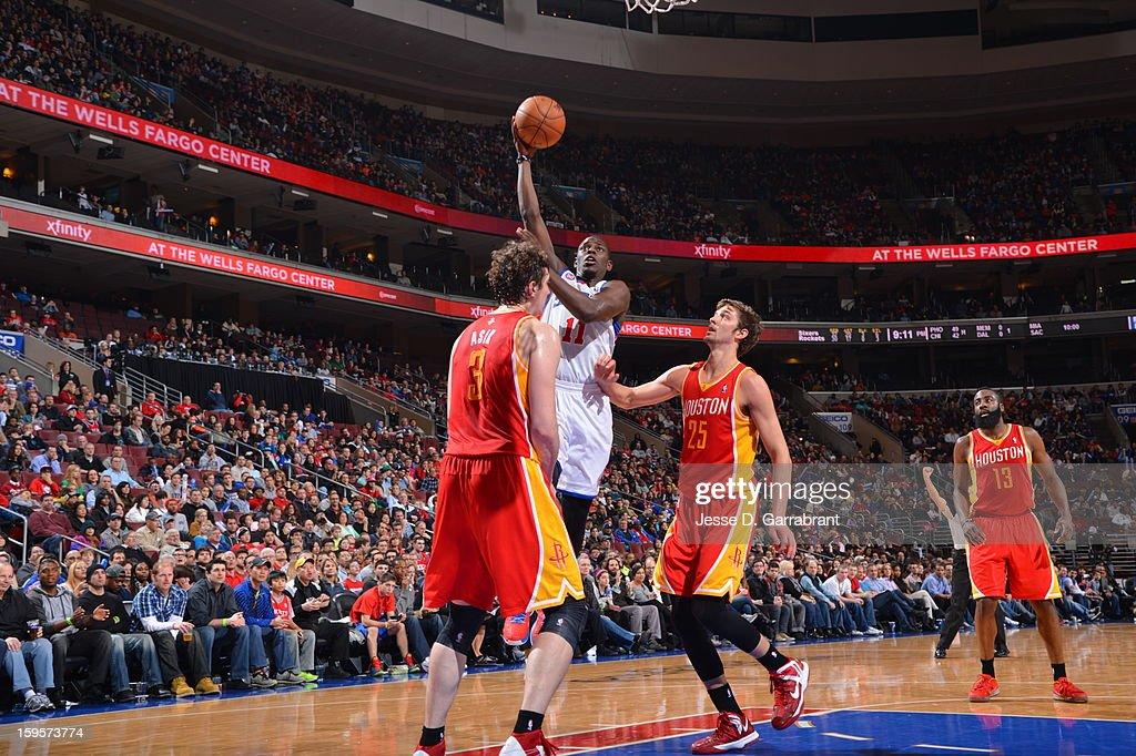 Jrue Holiday #11 of the Philadelphia 76ers puts up a shot against the Houston Rockets at the Wells Fargo Center on January 12, 2013 in Philadelphia, Pennsylvania.