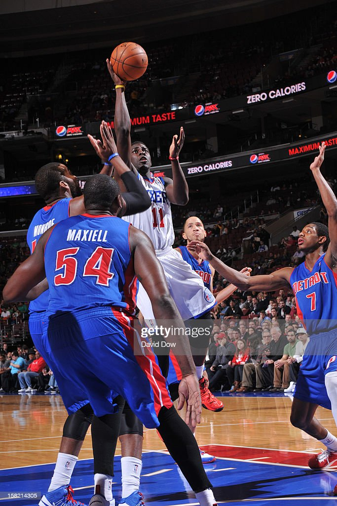 <a gi-track='captionPersonalityLinkClicked' href=/galleries/search?phrase=Jrue+Holiday&family=editorial&specificpeople=5042484 ng-click='$event.stopPropagation()'>Jrue Holiday</a> #11 of the Philadelphia 76ers puts up a shot over the Detroit Pistons during the game at the Wells Fargo Center on December 10, 2012 in Philadelphia, Pennsylvania.