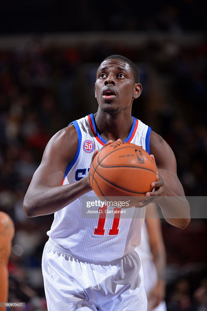 Jrue Holiday #11 of the Philadelphia 76ers shoots a free throw against the Indiana Pacers at the Wells Fargo Center on February 6, 2013 in Philadelphia, Pennsylvania.