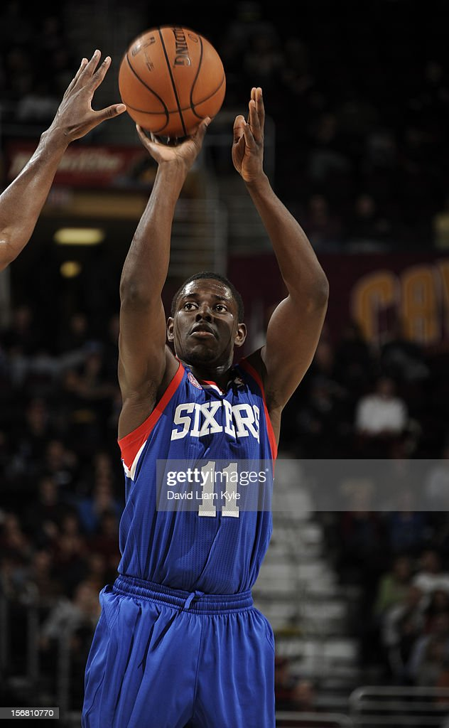 <a gi-track='captionPersonalityLinkClicked' href=/galleries/search?phrase=Jrue+Holiday&family=editorial&specificpeople=5042484 ng-click='$event.stopPropagation()'>Jrue Holiday</a> #11 of the Philadelphia 76ers shoots a jumper against the Cleveland Cavaliers at The Quicken Loans Arena on November 21, 2012 in Cleveland, Ohio.