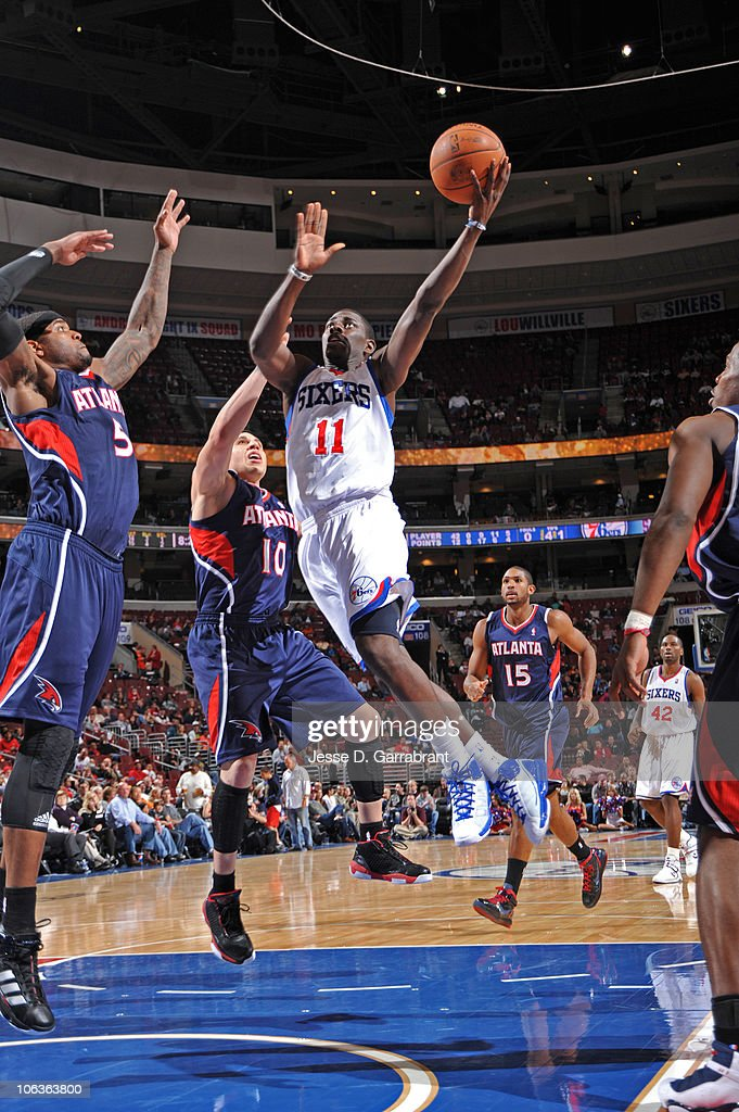 <a gi-track='captionPersonalityLinkClicked' href=/galleries/search?phrase=Jrue+Holiday&family=editorial&specificpeople=5042484 ng-click='$event.stopPropagation()'>Jrue Holiday</a> #11 of the Philadelphia 76ers shoots against the Atlanta Hawks during the game on October 29, 2010 at the Wells Fargo Center in Philadelphia, Pennsylvania.