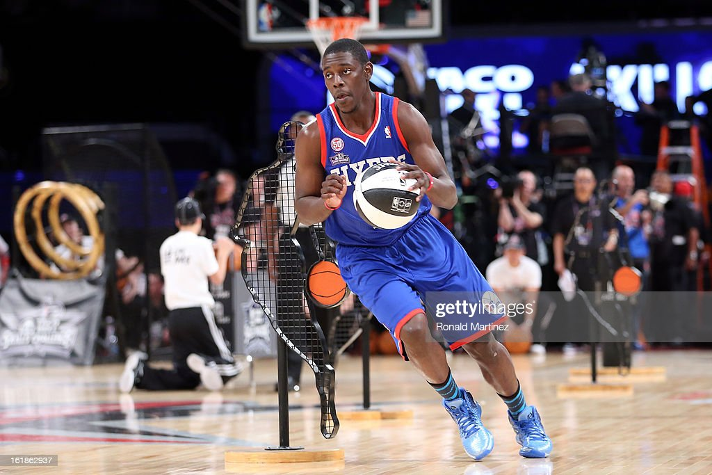 <a gi-track='captionPersonalityLinkClicked' href=/galleries/search?phrase=Jrue+Holiday&family=editorial&specificpeople=5042484 ng-click='$event.stopPropagation()'>Jrue Holiday</a> #11 of the Phildelphia 76ers and the Eastern Conference competes during the Taco Bell Skills Challenge part of 2013 NBA All-Star Weekend at the Toyota Center on February 16, 2013 in Houston, Texas.
