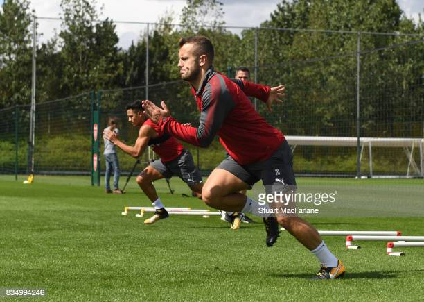 Jsck Wilshere of Arsenal during a training session at London Colney on August 18 2017 in St Albans England