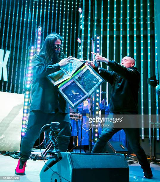 JSplif and Kev Nish of Far East Movement perform at Universal CityWalk's music spotlight concert series at Universal CityWalk 5 Towers on August 28...