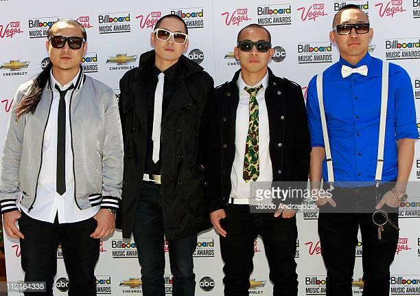 JSplif Kev Nish DJ Virman and Prohgress of Far East Movement pose at the 2011 Billboard Music Awards finalists announcement at Chateau nightclub at...