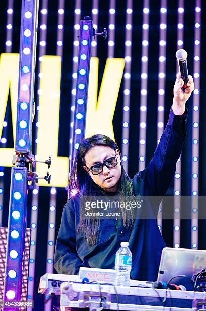 Splif of Far East Movement performs at Universal CityWalk's Free Summer 'Music Spotlight Series' at 5 Towers Outdoor Concert Arena on August 28 2014...
