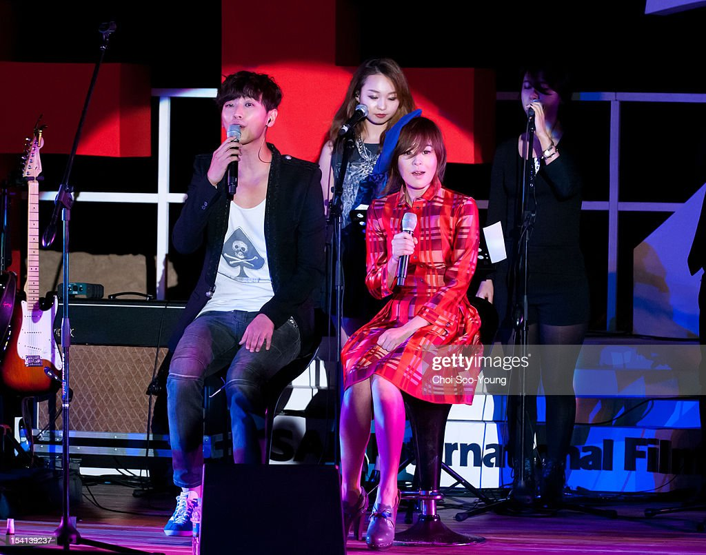 Ju Ji-Hoon of Jester's band and Choi Gang-Hee perform onstage during the 17th Busan International Film Festival (BIFF) at the Haeundae Beach BIFF Village on October 6, 2012 in Busan, South Korea.
