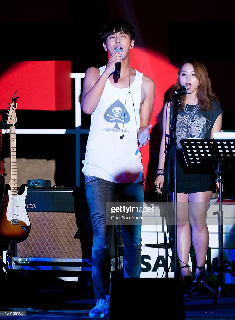 Ju Ji-Hoon of Jester's band performs onstage during the 17th Busan International Film Festival (BIFF) at the Haeundae Beach BIFF Village on October 6, 2012 in Busan, South Korea.