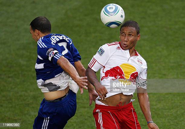 Juan Agudela of the New York Red Bulls challenges Daniel Hernandez of FC Dallas for the ball on July 23 2011 at Red Bull Arena in Harrison New Jersey...