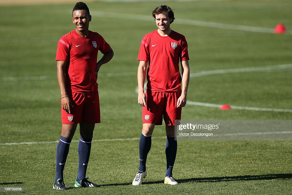 Juan Agudelo and Mix Diskerud look on during the U.S. Men's Soccer Team training session at the Home Depot Center on January 17, 2013 in Carson, California.
