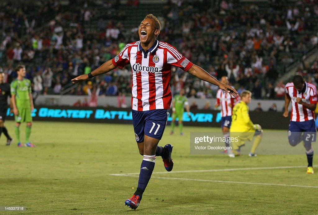 Juan Agudelo of Chivas USA celebrates his goal in the second half of the MLS match against the Seattle Sounders at The Home Depot Center on May 26...