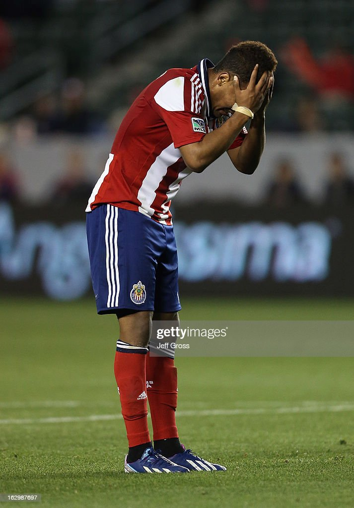 <a gi-track='captionPersonalityLinkClicked' href=/galleries/search?phrase=Juan+Agudelo&family=editorial&specificpeople=6850559 ng-click='$event.stopPropagation()'>Juan Agudelo</a> #11 of Chivas USA reacts after missing a shot against the Columbus Crew in the second half at The Home Depot Center on March 2, 2013 in Carson, California. The Crew defeated Chivas USA