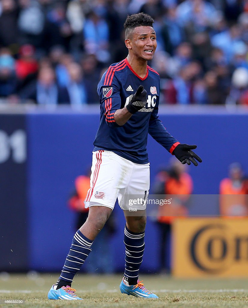 Juan Agudelo of New England Revolution reacts in the first half against the New York City FC during the inaugural game of the New York City FC at...