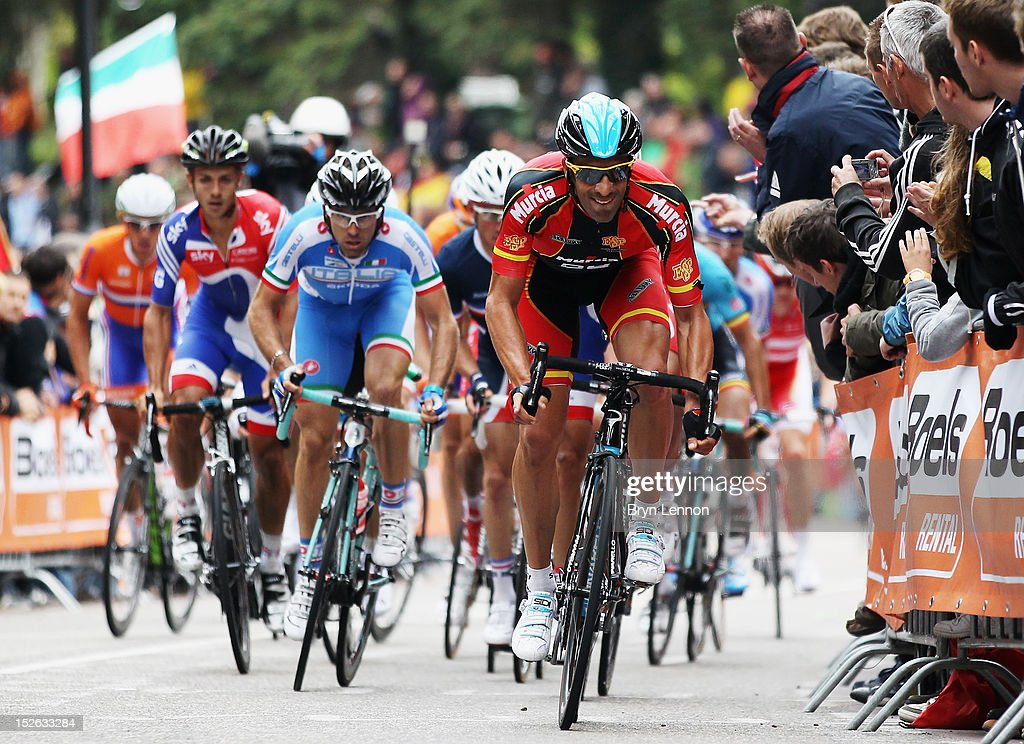 Juan Antonio Flecha of Spain leads a group of riders up the Cauberg during the Men's Elite Road Race on day eight of the UCI Road World Championships on September 23, 2012 in Valkenburg, Netherlands.