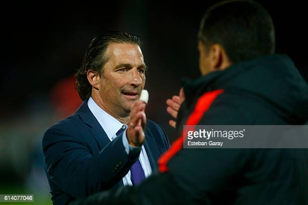 Juan Antonio Pizzi coach of Chile gestures during a match between Chile and Peru as part of FIFA 2018 World Cup Qualifier at Nacional Julio Martinez...