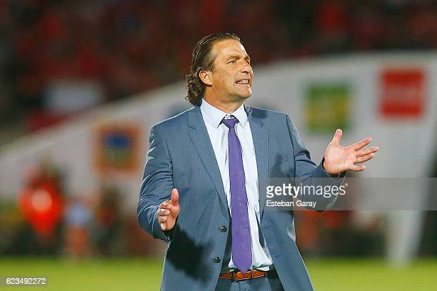 Juan Antonio Pizzi coach of Chile gestures during a match between Chile and Uruguay as part of FIFA 2018 World Cup Qualifier at Nacional Julio...