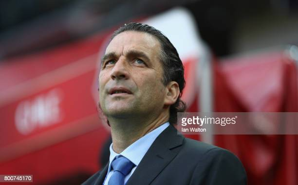 Juan Antonio Pizzi coach of Chile looks on during the FIFA Confederations Cup Russia 2017 Group B match between Chile and Australia at Spartak...