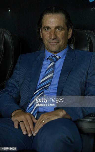 Juan Antonio Pizzi coach of Leon looks on during the Final match between Leon and Chivas as part of the Copa MX Apertura 2015 at Leon Stadium on...