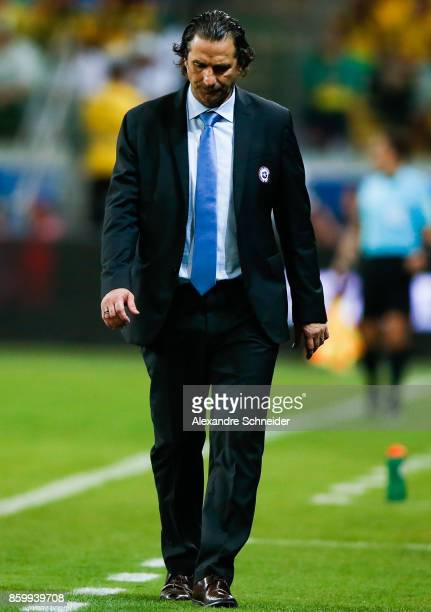 Juan Antonio Pizzi head coach of Chile in action during the match between Brazil and Chile for the 2018 FIFA World Cup Russia Qualifier at Allianz...