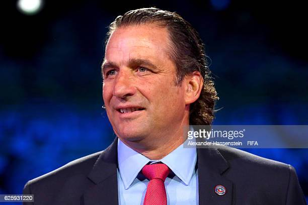 Juan Antonio Pizzi head coach of Chile national football team looks on after the Official Draw for the FIFA Confederations Cup Russia 2017 at...