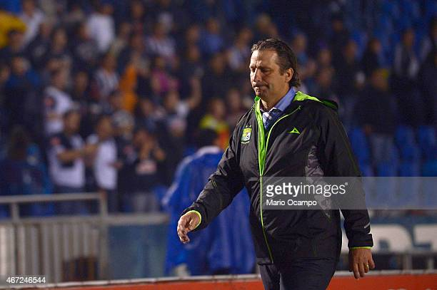 Juan Antonio Pizzi head coach of Leon gets off of the field at the end of a match between Monterrey and Leon as part of 11th round Clausura 2015 Liga...