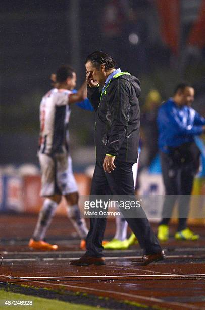 Juan Antonio Pizzi head coach of Leon reacts after his team received a goal during a match between Monterrey and Leon as part of 11th round Clausura...