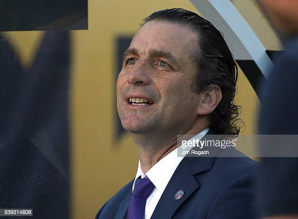 Juan Antonio Pizzi manager of Chile sits on the sideline before a 2016 Copa America Centenario Group D match between Chile and Bolivia in the first...