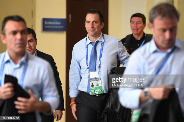 Juan Antonio Pizzi of Chile arrives at the stadium prior to the FIFA Confederations Cup Russia 2017 SemiFinal between Portugal and Chile at Kazan...