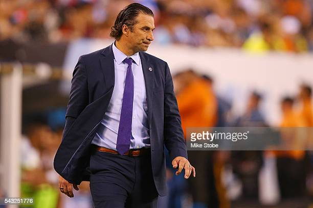 Juan Antonio Pizzi of Chile calls out from the sidelines against Argentina during the Copa America Centenario Championship match at MetLife Stadium...