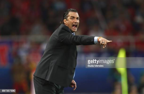 Juan Antonio Pizzi of Chile gestures during the FIFA Confederations Cup Russia 2017 Group B match between Cameroon and Chile at Spartak Stadium on...