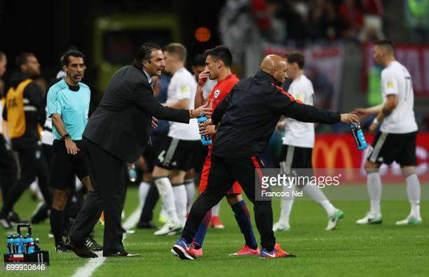 Juan Antonio Pizzi of Chile gives his team instructions during the FIFA Confederations Cup Russia 2017 Group B match between Germany and Chile at...