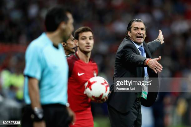 Juan Antonio Pizzi of Chile gives his team instructions during the FIFA Confederations Cup Russia 2017 SemiFinal between Portugal and Chile at Kazan...