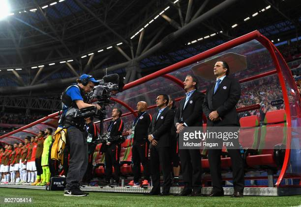 Juan Antonio Pizzi of Chile lines up prior to the FIFA Confederations Cup Russia 2017 SemiFinal between Portugal and Chile at Kazan Arena on June 28...