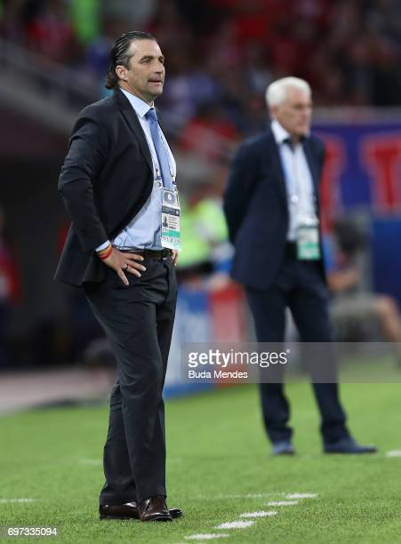 Juan Antonio Pizzi of Chile looks on during the FIFA Confederations Cup Russia 2017 Group B match between Cameroon and Chile at Spartak Stadium on...